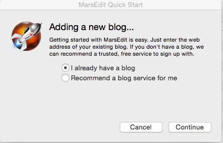 MarsEdit Quick Start と MarsEdit